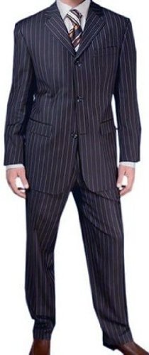 MUGA Pinstripe mens Suit + Waistcoat, Navy/Dark blue, size 58R (EU 68)