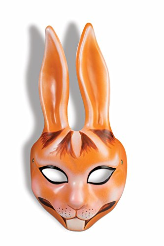 Orange Rabbit Plastic Half Mask Bunny Animal Easter Costume Accessory Unisex New