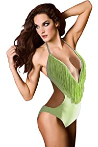 Sexy Fringe Scoop Halter Bikini Top & Bottom Set Swimsuit Bathing Suit (M, Teddy Swimwear:Light Green)