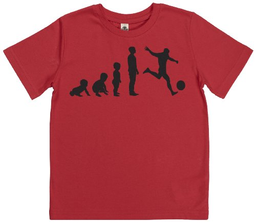 Phunky Buddha - Evolution To A Footballer Kids Tshirt 11-12 Yrs - Red front-631443