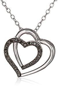 Black Rhodium Sterling Silver Black and White Diamond Double Heart Pendant Necklace (.1 Cttw), 18