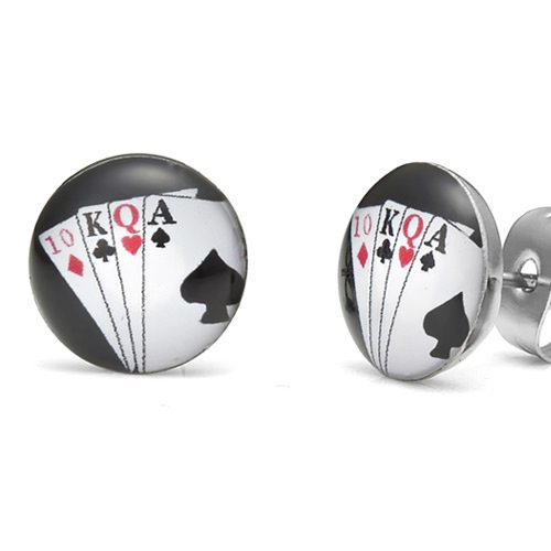 Unique Royal Flush Poker Cards Stainless Steel Man Stud Earrings