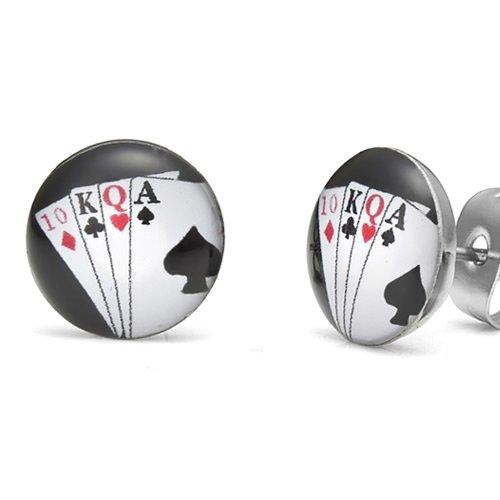 Unique Royal Flush Poker Cards Stainless Steel Man Stud Earrings