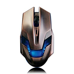 A-jazz Green Hornet Computer/Laptop High Precision Gaming Mouse with 6D Controls 800/1600/2000 DPI with Add Design Copper Color USB Braided Wire Anti-interference Magnetic Ring