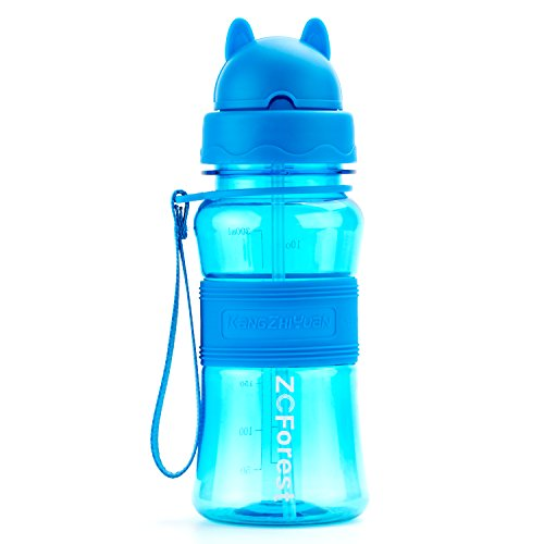 ZCForest Water Bottle for Children 300ML BPA Free Tritan Leakproof High-Temperature Resistant Shockproof Straw Cups Kids Sports Bottle--Blue