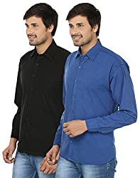 FOCIL Black & Blue Cotton Blend Casual Combo Shirt For Men (Pack of 2)