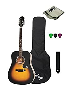 Epiphone DR 100 Dreadnought Acoustic Guitar Bundle With Gig Bag, Strap, Picks, Polishing Cloth, Vintage Sunburst available at Amazon for Rs.9350