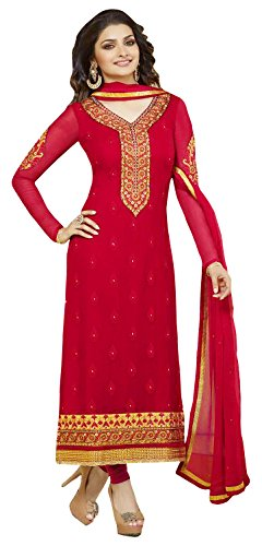 Red Fazals Red Georgette Salwar Suit
