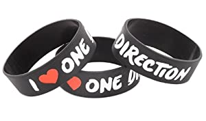 3 Pieces of I Love One Direction One Inch Wristbands Directioner Three Bracelets