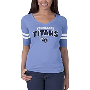 NFL Tennessee Titans Ladies Flanker Speckle Stripe T-Shirt, Small by