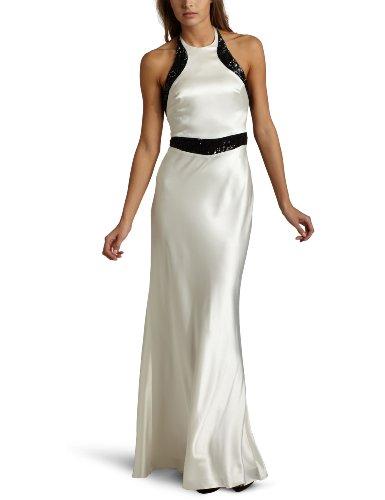 ABS Allen Schwartz Women's Sequin Panels Long Satin Gown