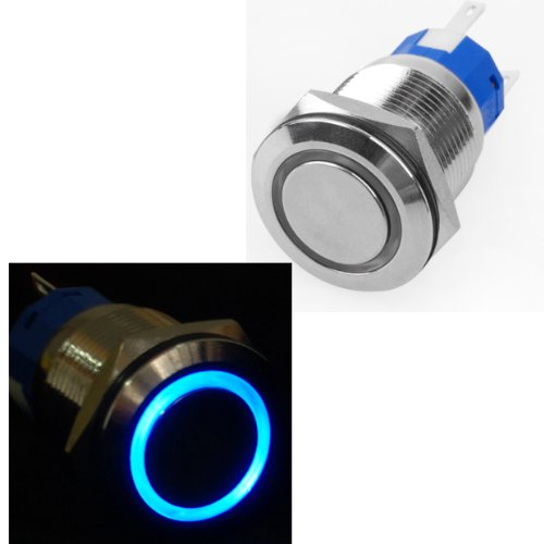 Heavy Duty Stainless Steel Ultra Flush Blue Led Light Neon Glowing On Off Switch Ring Button 16Mm Thread Diameter X1 Unversal Fits For Cars Trucks front-635771