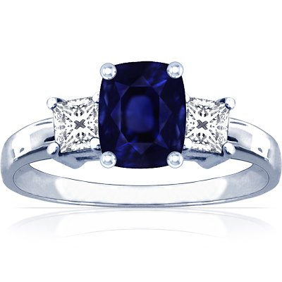18K White Gold Cushion Cut Blue Sapphire Three Stone Ring