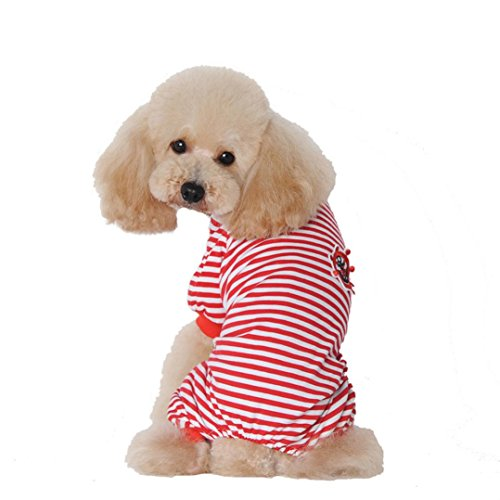 Binmer(TM) Doggy Puppy Pet Dog Pajamas Jumpsuit Clothes Cute Shirt Party Summer Clothing (M, Red) (Doggy Clothing)