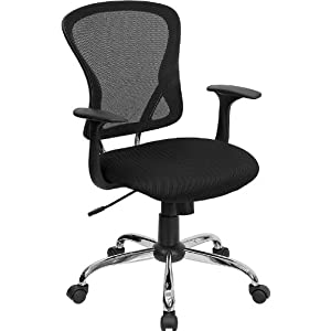 Black Mesh Office Chair with Chrome Finished Base [H-8369F-BLK-GG]