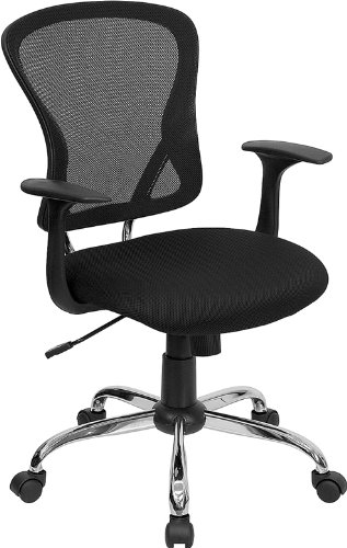Black Mesh Office Chair  Chrome Finished Base 