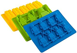 Lucentee® Silly Candy Molds & Ice Cube Trays - Lego Building Bricks and Figures - with Bonus Recipe Ebook