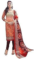 PADMiNi Ethnicwear Women's Dress Material Orange Free Size