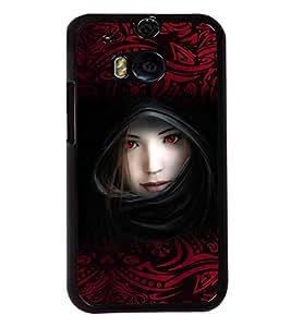Fuson Red Eyes Girl Back Case Cover for HTC ONE M8 EYE - D3925