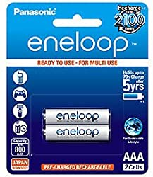 Panasonic eneloop 2×AAA 800mAh Ready to use for Multi use Ni-MH Rechargeable Batteries