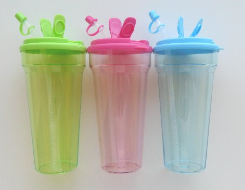 Extra Large Plastic Acrylic Tumbler with Straw and Lid 32 oz. Set of 3 Eco-Friendly