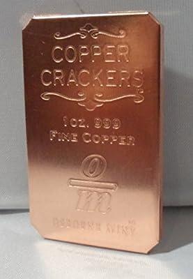 1 Oz. Single Copper Cracker .999 Copper Bullion Art Bar Collectible Ingot