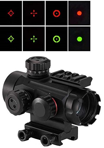 "Tactical 1X35 Red & Green 4 Reticle Dot Open Reflex Tubeless Scope Sight Adjustable Brightness Qd Quick Detach Thumbnuts With Top Weaver Picatinny 7/8"" Shotgun Gun Rifle Pistol Mount Battery & Lens Cleaning Cloth"