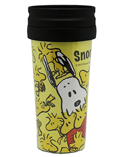 Yellow Snoopy Peanuts Travel Coffee Mug Thermos