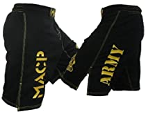 Modern Army Combatives Fight Shorts Black and Gold Design Size 36