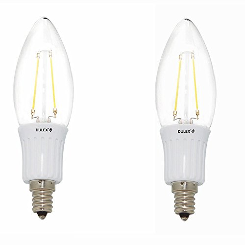 Dulex®2 Pack B11 Led Filament Candle Light 2W To Replace 25W Incandescent Bulb Soft White (2700K)