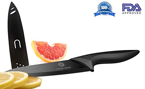 Professional 8 Inch Ceramic Chef Knife - Lightweight Ergonomic Design - Ultra Sharp Blade - Sheath - Gift Box