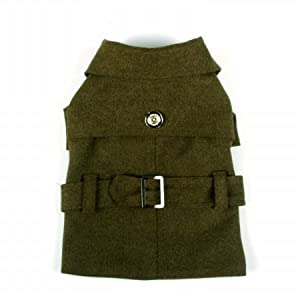 Pet Life Galore Back-Buckled Fashion Wool Dog Coat, X-Small, Static Olive Green