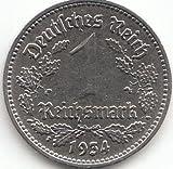 Imperio Alemán Jägernr: 354 1934 F muy níquel 1934 1 marcos rica águilaconstellation (para monedas de coleccionista)