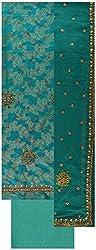 Gunjan Women's Brocade & Georgette Unstitched Salwar Suit (Blue & Green)