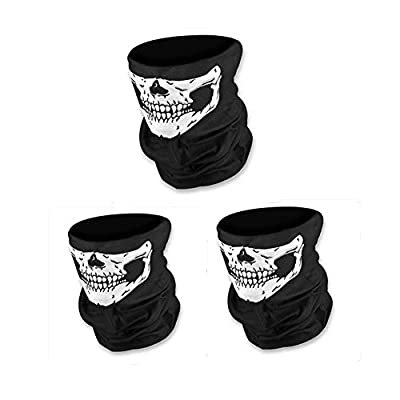 Black Windproof Seamless Half Skull Tube Face Mask Neck Gaiter Sports Headwear Helmet Liner,Valar Dohaeris 3PCS Polyester Versatile Bandana Balaclava for Tactical Cosplay Riding Cycling Motorcycle