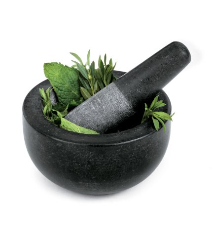 fresco granite mortar and pestle black small new free shipping ebay. Black Bedroom Furniture Sets. Home Design Ideas
