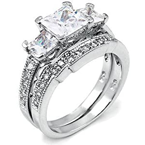 Sterling Silver Cubic Zirconia CZ Wedding Engagement Ring Set Sz 8