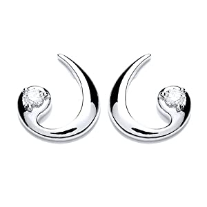Rocio Illumini Alcor Rhodium Plated Silver White Swarovski Zirconia Stylish Stud Earrings