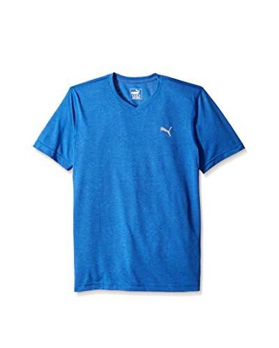PUMA Men's Essential Short Sleeve V-Neck Stripe