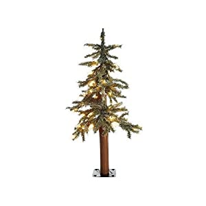 #!Cheap 2.5' Pre-Lit Frosted Alpine Artificial Christmas Tree - Clear Lights