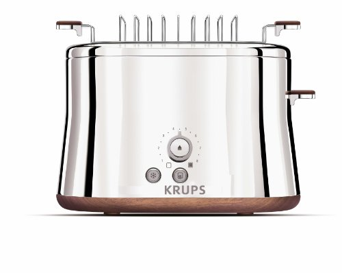 Krups KH754 Silver Art Collection 2 Slice Toaster with Bun Warmer, Stainless Steel/Chrome
