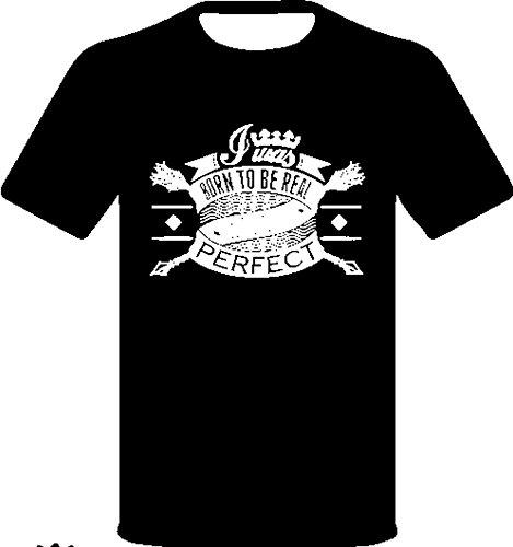 """Monkey Design - T-Shirt Con Scritta """"Born To Be Real Not Perfect"""", Colore: nera, Taglia: XXL"""