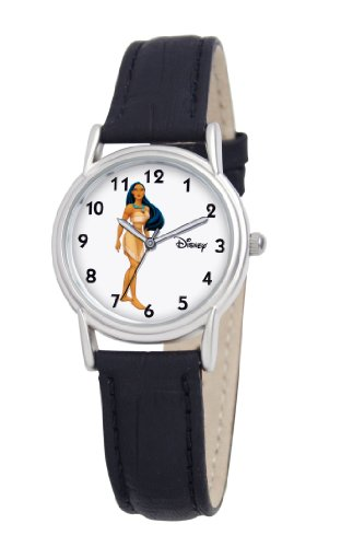 Disney Women's D083S005 Pocahontas Black Leather Strap Watch