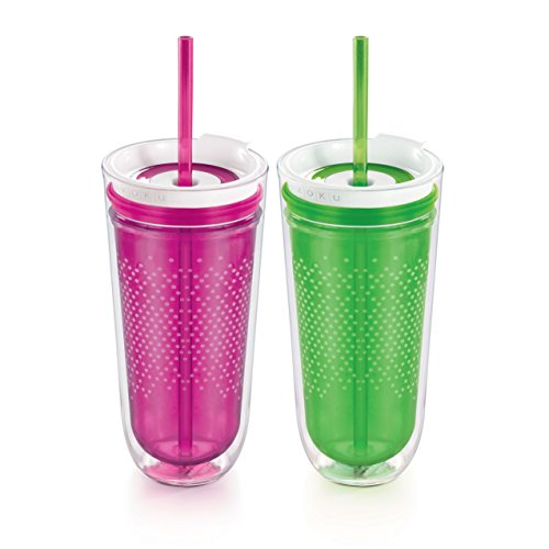 Zoku Travel Tumbler, Set of 2, Purple and Green, 16-Ounces (Iced Coffee Zoku compare prices)