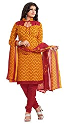 Nilkanth Enterprise Lime Orange Dress Material