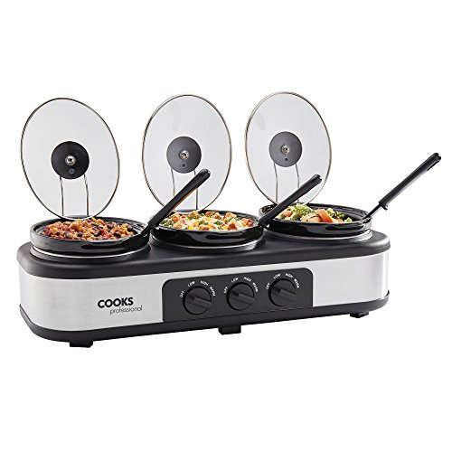 Three Pot Slow Cooker Kitchen Crockpot with Removable Pots