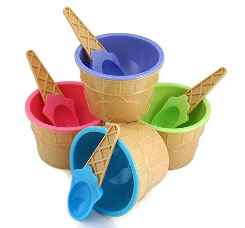 Pastel Crème glacée cône Bols et Cuillères