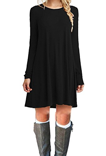 MOLERANI Women's Casual Plain Long Sleeve Simple T-shirt Loose Dress (M, Black)
