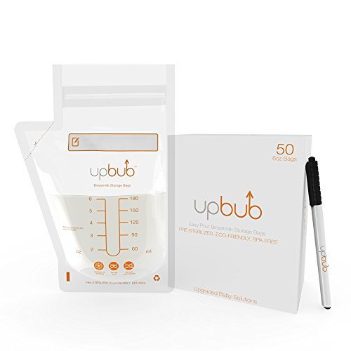 Breastmilk-Storage-Bags-50-Easy-Pour-6oz-Bags-by-UpBub-BPA-Free-Phthalate-Free-Protect-Your-Baby-Pump-Save-Breast-Milk-In-The-Freezer-Bonus-BPA-Free-Marker-90-Day-Money-Back-Guarantee