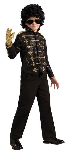 Michael Jackson Deluxe Black Military Jacket Halloween Costume - Child Size Medium 8-10